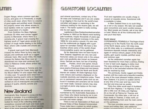 "Part of page 430 and page 431 - Start of New Zealand entry in ""Gemstone Localities"" section"