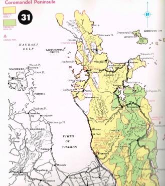 Map showing main gem-bearing areas of the Coromandel Peninsula, NZ