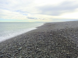 This is the area, near the eastern end of the beach, where most of the stone-hunters spend their time