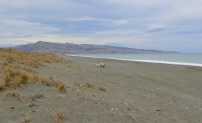 At the beach access half-way along Kaitorete Spit, looking eastwards towards Banks Peninsula and the Birdlings Flat beach I had just left