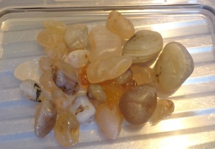 The agate stones I took away with me, most of them given to me by people I met on the beach.