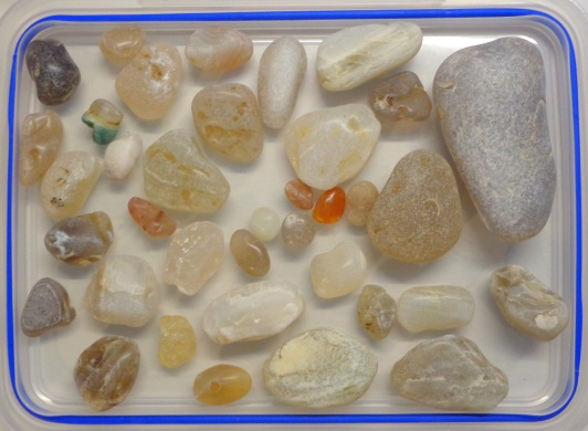 The agates collected at Birdlings Flat, late June, in their dry state
