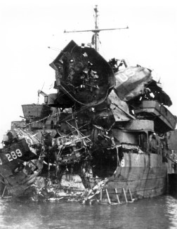 LST289 was severely damaged in the stern from a torpedo and limped back to port