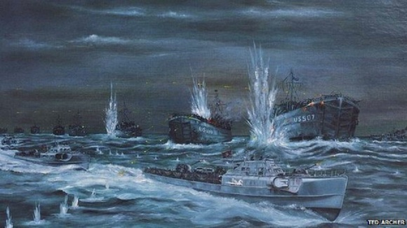 Painting by Ted Archer of the attack on US LSTs during Exercise Tiger, 27/28 April 1944