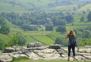 Petra looking out towards Malham Village from the top of the Cove