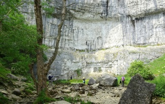 Where the Malham Beck seeps out from the bottom of the Malham Cove cliff face