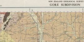 """Section from the top of the Geological Map in""""The Geology of the Gore Subdivision"""" (1956)"""