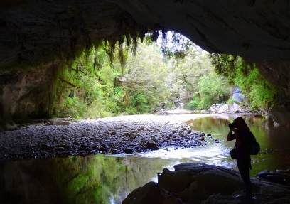 Looking out of the cave onto the river at Moria Gate