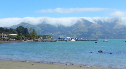 Clouding rolling down the hills at Akaroa