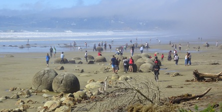 The Moeraki Boulders are a popular tourist attraction