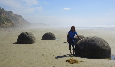 Moeraki boulders on a misty midday