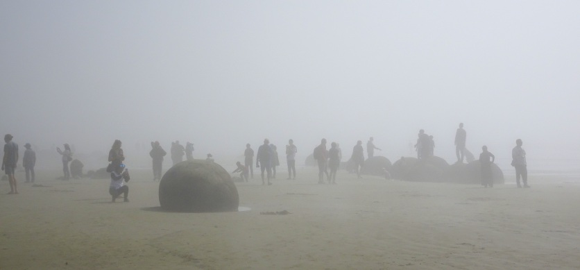 Tourists in the midday sea mist at the Moeraki Boulders