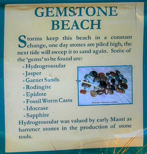Gemstone Beach, Orepuki, Information Panel - some of the stones mentioned are very rare and are not usually found