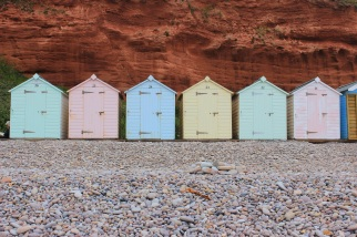 Beach huts and red cliffs at Budleigh Salterton