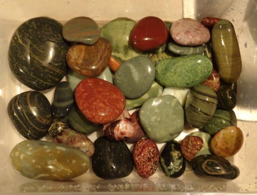 Washed stones collected from Gemstone Beach - three Rhyolite ones at left and centre bottom. In the middle is a green argillite stone with a lighter coloured fossil wormcast