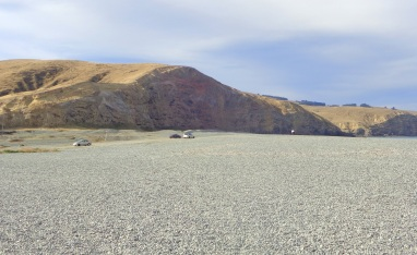 Where Birdlings Flat beach meets with Banks Peninsula