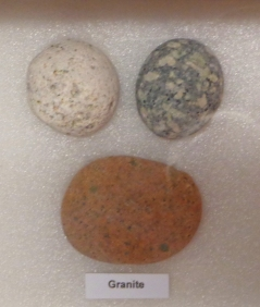 Display of Granite stones, Riverton Museum. Photo with permission of Museum staff..