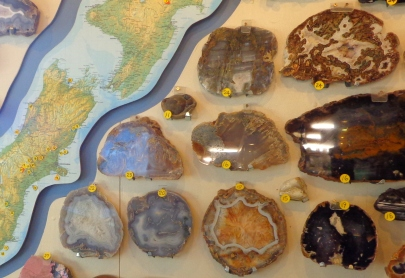 Wall display of rocks and their origins, including Agates,Birdlings Flat Gemstone and Fossil Museum
