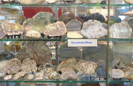 Agate shelf display, Birdlings Flat Gemstone and Fossil Museum
