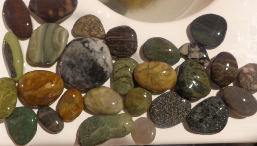 Top centre is the Rhyolite Stone #5, washed after being found on Gemstone Beach at Orepuki