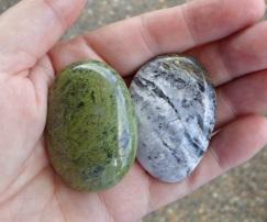 Two good-sized tumble-polished Quartzites from Birdlings Flat