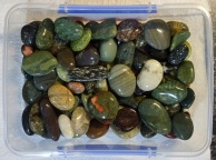 The 78 polished stones in a plastic storage container
