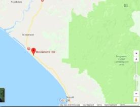 McCracken's Rest on the coast of Te Waewae Bay, northwest of Orepuki. The Waiau River mouth is further northwest, where the Te Waewae Lagoon is created by a stone bar. Source: Google Maps