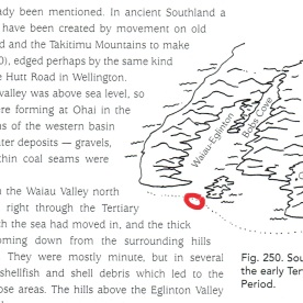 """Jocelyn Thornton (2003), """"The Field Guide to New Zealand Geology"""", page 155 - I have circled in red the approximate location of present-day Orepuki"""