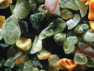 """Sand from Lahinch, Ireland, magnified 125x. Page 34 of """"A Grain of Sand: Nature's Secret Wonder"""" by Gary Greenberg (2008)"""