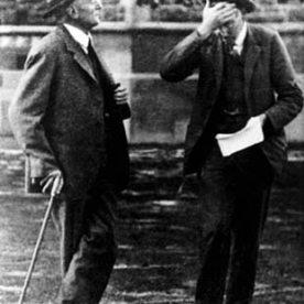 James Park (left). Source: https://teara.govt.nz/en/photograph/2396/university-of-otago-professors-james-park-left-and-william-noel-benson-ham-it-up-0
