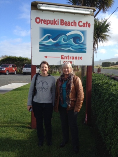 Kay and Jenny outside Orepuki Cafe. Source: http://whistlestoptours.blogspot.com/2015/06/early-march-2015-saw-j-and-k-rolling.html