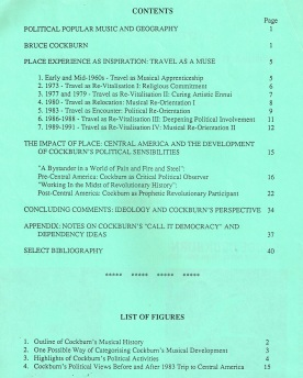 Contents of Conference Paper on Bruce Cockburn