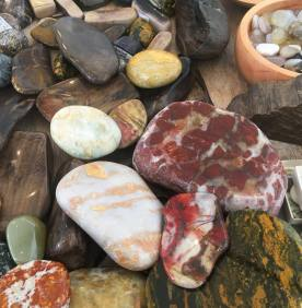 Polished stones by Jack Geerlings, for sale at Good Studio, Riverton. Source: https://www.facebook.com/thegoodstudionz/photos/a.258084240903350/2135882719790150/?type=3&theater