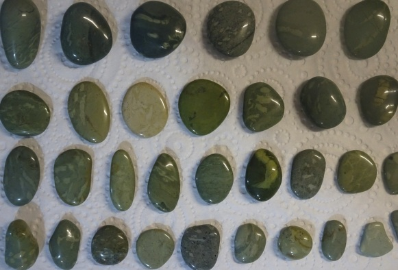 Polished fossil worm cast stones from Gemstone Beach.
