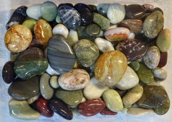Helen's 104 polished stones from Gemstone Beach