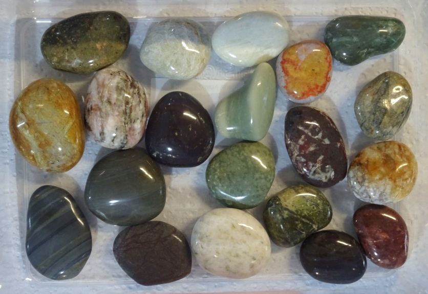 The 20 largest of Helen's polished stones from Gemstone Beach.