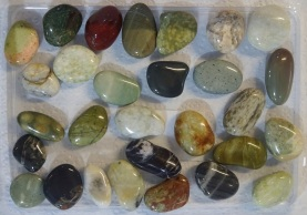 29 medium-sized polished stones collected by Helen from Gemstone Beach.