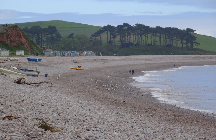 Budleigh Salterton beach, looking eastwards towards the mouth of the River Otter