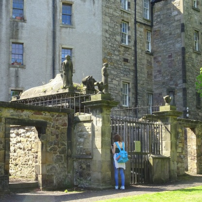 Tombs in the Greyfriars Churchyard, with residences overlooking them.