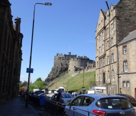 Walking up the hill, coming upon Edinburgh Castle.