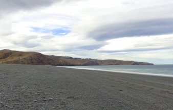 Birdlings Flat, with Banks Peninsula in the background