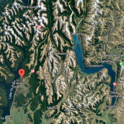 The Eglinton River runs into Lake Te Anau at the red marker - it flows alongside Hghway 94 until that road turns west to Milford Sound. Source: Google Maps
