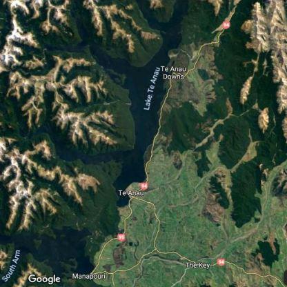 Lake Te Anau. Source: Google Maps.