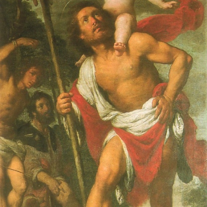 St Christopher carrying the child across the river. Source: https://en.wikipedia.org/wiki/File:BStrozziCristof1.jpg
