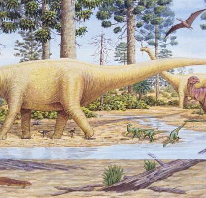 The large dinosaur in the middle is a sauropod, thought to have made the northwest Nelson trace fossil footprints. Source: https://www.stuff.co.nz/science/83962010/dinosaur-footprints-found-in-nelson-on-show-in-lower-hutt