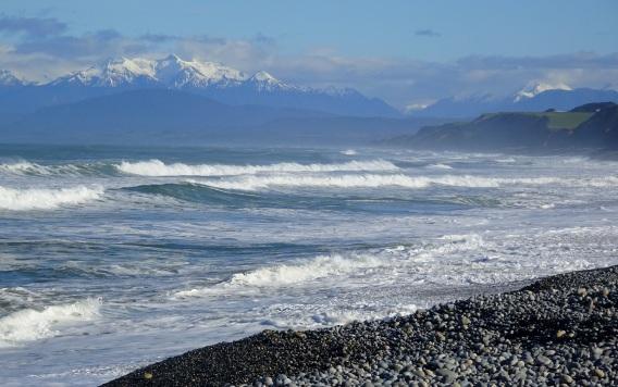 Fiordland mountains viewed from Gemstone Beach