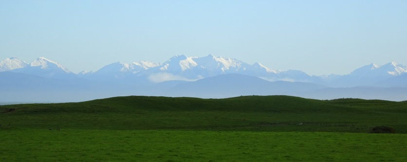 The snow-capped mountains of Eastern Fiordland, photo taken from just outside Orepuki.